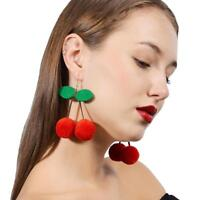 Kirsche Pom Ball Drops Ohrringe Schmuck Frauen baumeln Ohrringe Rot Kirsche I7U5