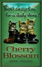 Blechschild Cherry Blossom Shoe Polish Katzen Schuhcreme Schuhpflege Schuhe deko