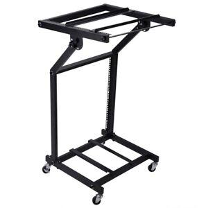"DJ Rack Mount Studio Mixer Stand Rolling Stage Cart Disco Music Mobile 19"" 12U"