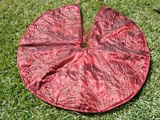 "48"" Christmas Tree Skirt Elegant Embroidered Organza Red Gold Beaded NEW!"