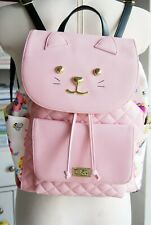 NWT pink floral Luv Betsey Johnson large cat face lolita cute backpack rucksack