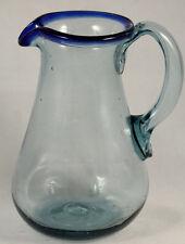 Mexican Glass Pitcher Green Rim Hand Blown Glassware Mexico 2-1/2 Quart