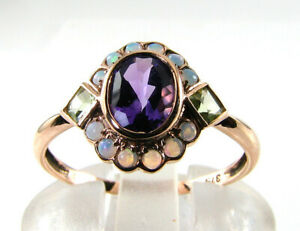 SUFFRAGETTE 9CT 9K ROSE GOLD AMETHYST PERIDOT OPAL ART DECO INS CLUSTER RING