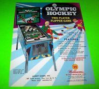 Olympic Hockey Pinball FLYER Original NOS Williams 1972 Promo Game Artwork Sheet