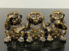 New ListingHear See Speak No Evil Rhinestone Jeweled Hinged Monkey Trinket Box