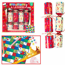 6 Pack Novelty Game Christmas Crackers - Stockings and Ladders