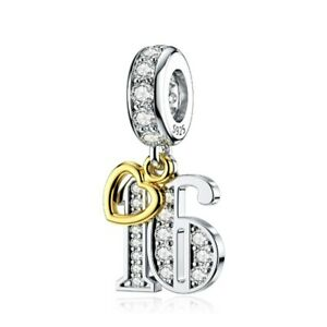 S925 Silver & Gold Pl Hanging 16th Milestone Birthday Charm by YOUnique Designs