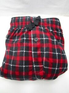 Fruit of the Loom Fleece Sleep Pant Size L 36-38 Thick and Soft Red Black Plaid