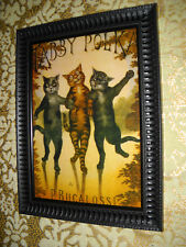 3 CATS DO THE TABBY POLKA  5 X 7 BLACK framed picture Vintage style art print