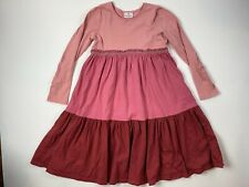 Hanna Andersson 140 Dress Girls 10 Twirl Tiered Pink Burgundy Long Sleeved