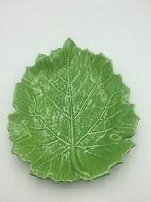 Vintage ITALIAN POTTERY Costa Green LEAF Plate ITALY Majolica