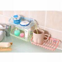 Double Suction Sponge Soap Holder Kitchen Bathroom Drain Storage Rack Shelf