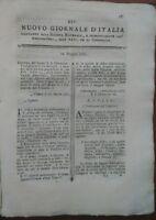 1781 NUOVO GIORNALE D'ITALIA: PIANTA VENTOLANA E GESSO, VINI DI BORGOGNA