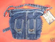 New SUBMISSION Blue Denim Jeans Bullet Motor Shoulder Bag Purse Handbag Rocker