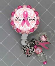 BREAST CANCER AWARENESS RETRACTABLE ID REEL BLING BADGE HOLDER