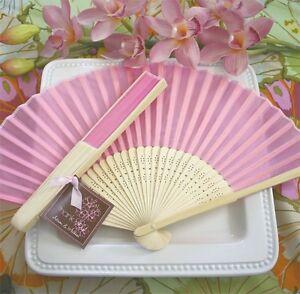 100 PINK Silk Fans Spring Summer BEACH Wedding Favor Place Holder