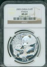 2005 CHINESE PANDA 10Y S10Y NGC MS69 1 Oz. SILVER MS-69 CHINA 10-Yn Yuan