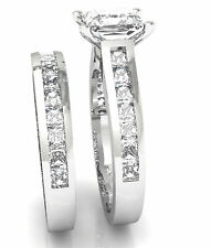 Certified 14KT White Gold With 3.25CT Princess Cut Diamond Engagement Ring Set