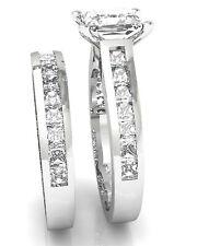 Certified 3.25Ct Princess Cut Diamond 14K White Gold Anniversary Band Ring Set