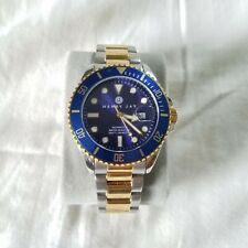 Henry Jay Mens 23K Gold Plated Two Tone Stainless Aquamaster Pro Dive Watch Sub