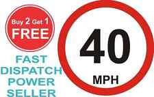 80mm Limited to 40 MPH Vehicle Speed Restriction Bumper Printed Sticker Car Van