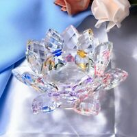 Handmade Crystal Lotus Flower Candle Holder Candlestick Glass Table Centerpiece