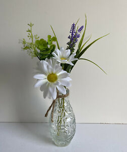 NEW ARTIFICIAL DAISY & LAVENDER FLOWERS IN TEXTURED GLASS BOTTLE VASE HOME DECOR