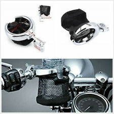 Durable Chrome Metal Motorbike Handlebar Water Drink Cup Holder Basket Universal
