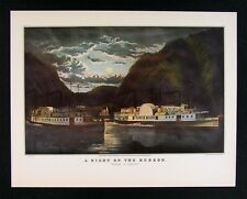 Currier and Ives Print - A Night on the Hudson River - Steamboats New York