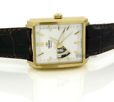 ORIENT MEN JAPAN MADE AUTOMATIC YELLOW GOLD LAYERED 36mmX46mm LEATHER FDBAD003W0