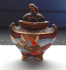 ANTIQUE JAPAN GOLD HAND PAINTED ENCENS HOLDER SATSUMA BOWL HIGH RELIEF FIGURAL