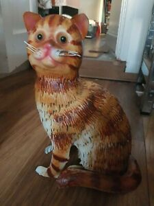 """13"""" Metal Cat Ornament tin? Ginger Pussy figurine sculpture potential door stop"""