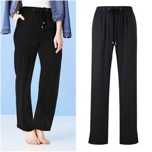 JD Williams Ladies Elastic Waist Black Satin Tapered Leg Trousers Size 12 14 New