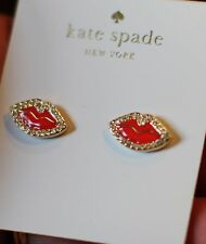 Kate Spade New York Love List Kiss Lips Stud Bridal Earrings Lipstick Red NWT XO