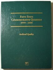 1999-2008 UNC. 50 STATE COMMEMORATIVE QUARTERS LITTLETON COIN FOLDER INCOMPLETE