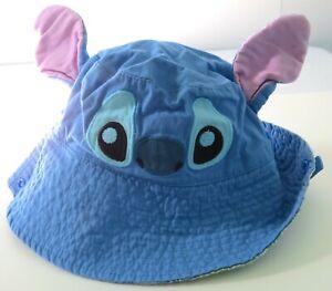DISNEY Baby Lilo & Stitch Bucket Hat or Brim 6-12 Months Blue Pink Chin Strap
