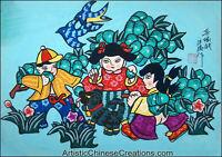 Chinese Folk Art Painting - Chinese Peasant Painting - Happy Kids