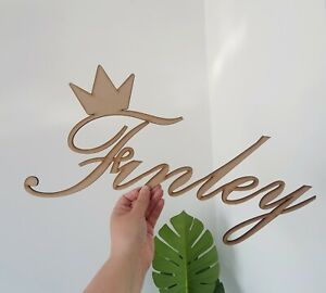 3mm MDF Wooden Cursive Script Name With Crown Wall Name Personalised
