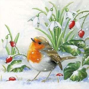 Robin in Winter 4 Napkins 33x33cm  Decoupage Paper Table Party BUY 4 GET 1 FREE
