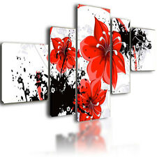 """XL PARTED CANVAS PICTURES WALL ART  SPLIT MULTI PANEL FLOWERS FRAMED MODULAR 52"""""""