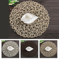2x Table Hollow Mat Round Woven Dining Placemat Pads Dinnerware Cup Coaster