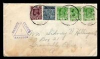 Burma WWII USA Censored Missionary Mail 6/24/1940 WWII Rangoon- Sc #1, 21x3 & 22