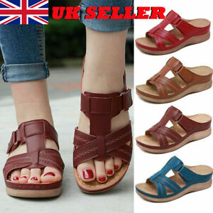 Womens Wide Fit Flat Sandals Wedges Slippers Ladies Peep Toe Mules Shoes Size