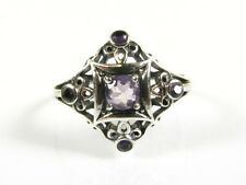 .45ctw Natural Round Cut Amethyst Victorian Deco Sterling Filigree Ring s7