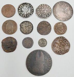 Lot of (13) 12th-18th C. European Coin Dealer Coins Britain, Dutch, Lithuania +