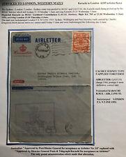 1953 Karachi Pakistan Air Letter Cover FDC Coronation Flight Queen Elizabeth II