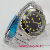 40mm PARNIS Black Dial Sapphire Glass Miyota Date Automatic Movement men's Watch