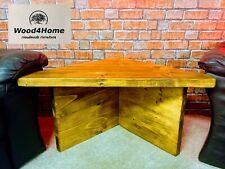 Corner Table Handmade Rustic Chunky Solid Wood - Dark Oak