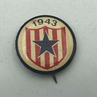 "1943 RWB Star Shield WW2 Era Bastian Bros 1"" Button Pin Pinback Vintage    R6"