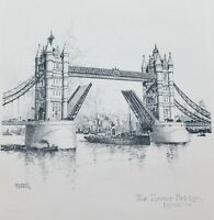 Ernest Coffin Etching Art Print Tower Bridge Unframed on Paper Circa 1930